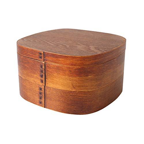Fiambrera Doble Capa Sushi Box Portátil Caja de Almuerzo de Madera Natural para Niños Picnic para Adultos Oficina Escuela Senderismo Camping