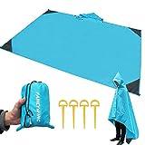 Fancywing Manta de playa a prueba de arena, manta de picnic al aire libre impermeable para senderismo, camping, mochila, viaje con bolsillo compacto ligero 55 x 78 pulgadas grande (azul)