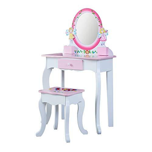 Juego de tocador para niños con taburete y espejo para niñas, juego de mesa de maquillaje con cajón de madera