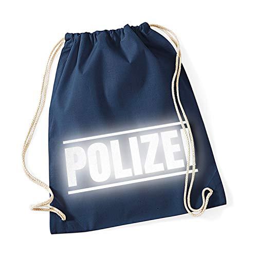 Shirt-Panda Sport Turnbeutel Polizei mit Streifen Baumwoll-Beutel Druck Reflektierend Rucksack Tasche Dunkelblau (Druck Reflex)