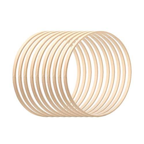 winnerruby - Aros de madera de bambú para atrapasueños con diseño de flores