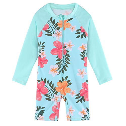 ZNYUNE Baby Meisjes UV Zon Bescherming Badpak Lange Mouw Een Stuk Rits Rash Guard UPF 50+ Zwemmen Strandkleding Zwemkleding 6-8 Years cyaan-blauw