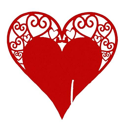 Figutsga Hollow Wine Glass Card Love Heart Wedding Table Decoration Positioning Card Cut,red