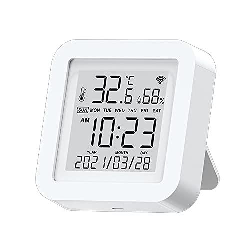 Weytoll WIFI Termohigrometro Higrotermometro Digital,Sensor con LCD Pantalla Termometro Higrómetro con Calendario Interior compatible con Alexa