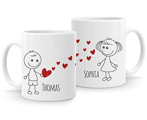 SpecialMe® personalisierte Kaffee-Tasse mit Namen Liebes-Paar Strichmännchen Liebesgeschenke Valentinstag Weihnachten (1 Tasse) weiß Keramik-Tasse