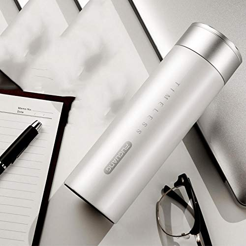 FPXNBONE Fermure Facile Tasse Double Mug Isotherme Anche,Tasse Thermos Portable Gran capacité, Bouilloire sous VI en Acier Inoxydable-Blanc_450ml, sans BPA Anti-Fuite Tasse Thermique