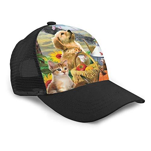 Berretto da Baseball per Cani e Gatti, in Cotone, per Uomini e Donne, con Tesa Curva Regolabile, Cappello da Camionista a Rete, per Ragazzi e Ragazze, Colore Nero