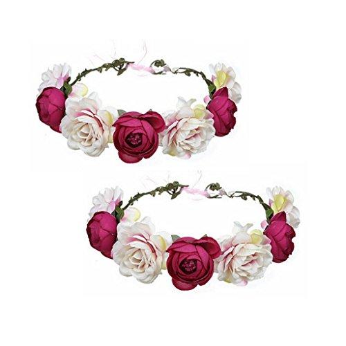 Ssowun Couronne de Fleurs Mariage 2pcs,Fletion Couronne de Fleurs Bandeaux de Fleurs pour Mariée Fêtes Voyage Ruban Serre-tête Accessoires Cheveux de Mariage (Rose Rouge 2 Pack)