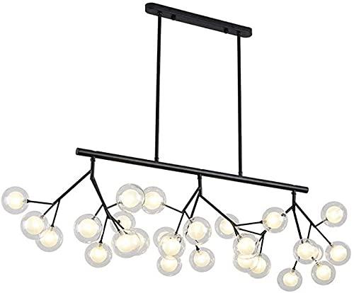 QHCS Candelabro Candelabro de luz de Techo, Industria Negra Lámpara de Techo de Bola de luz Colgante con Pantalla de Vidrio Candelabro para Comedor de Cocina, Dormitorio-Negro 27 Cabezas