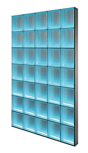 Fuchs Design Light My Wall® beleuchtete Glassteinwand 122,5x171,5 cm - DIY - Riva Weiß 1-seitig satiniert Weiß 24x24x8 cm Beleuchtung Bunt (Farbwechsel) - Aluminium satiniert - Raumteiler Duschwand
