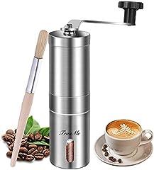 Molinillo de café manual, molinillo de café de acero inoxidable, rebaba cónica de cerámica ajustable, ideal para el hogar, la oficina y viajes, cepillo de especias