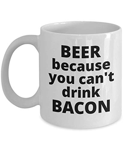 Funny Beer Coffee Mug Cup Novelty Gift Ideas for Men Bachelor Party Can't Drink Bacon