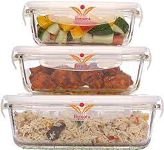 Femora Borosilicate Rectangular Glass Food Storage Container With Air Vent Lid-Set Of 3 Pcs - (400ml, 620 ml, 1000 ml)