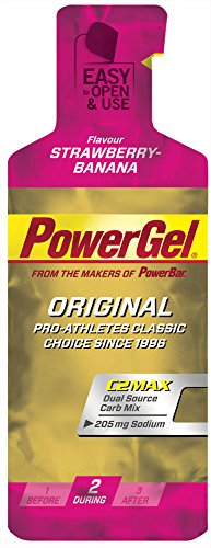 Gel Energético Power Gel PowerBar 12 Geles x 41g Fresa y Plátano
