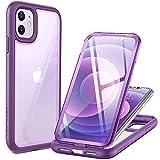 YOUMAKER Aegis Funda para iPhone 11 2019, Cuerpo Completo con Protector de Pantalla Incorporado Carcasas Transparente Resistente para iPhone 11 6.1Pulgada- Púrpura