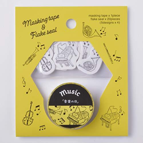 (まとめ買い)ヒサゴ マスキングテープ&フレークシール 音楽の日 UTS005 【×5】