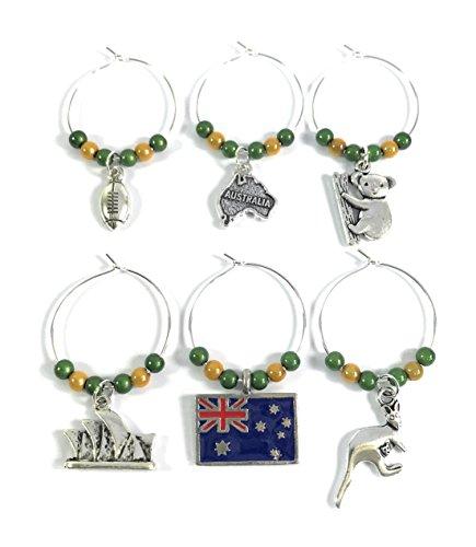 Set de 6Australia/Australia Copa de vino encantos con bolsa de regalo de terciopelo hecho a mano por Libby 's Market Place