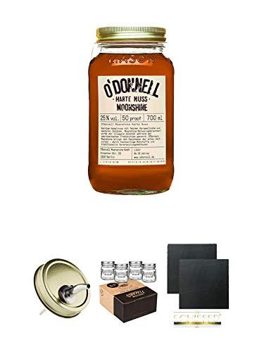 ODonnell Harte Nuss 25% 0,7 Liter + ODonnell Ausgiesser 1 Stück + ODonnell Mason Trinkglas/Jar 4 Stück Shotgläser + Schiefer Glasuntersetzer eckig ca. 9,5 cm Ø 2 Stück
