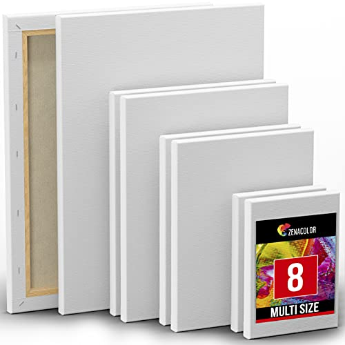 Zenacolor Set da 8 Tele per Dipingere in Diversi Formati - 13x18cm 24x30cm 20x25cm 30x40cm - 100% Cotone Senza Acido - per Tutti i Tipi di Pittura