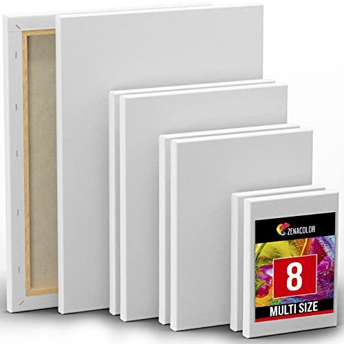 Zenacolor Set de 8 Lienzos para Pintar - 13x18cm 24x30cm 20x25cm 30x40cm - 100% Algodón sin Ácidos - Todo Tipo de Pintura para Telas Blancas