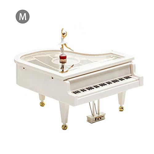 Oddity Piano-Spieluhr mit Ballerina, tanzend, klassische Musik, Spielzeug, Schreibtisch, Regal, Uhren, Sammlerstück, Dekoration für Zuhause, Kinder, Geschenk, weiß