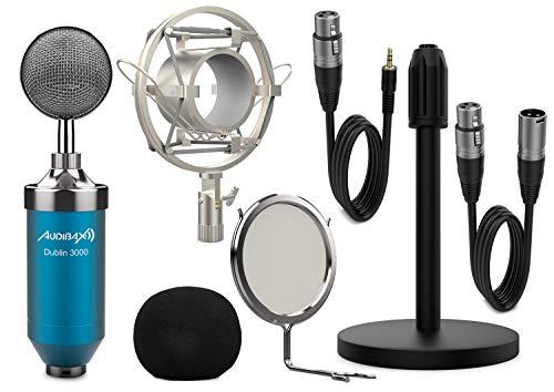 Audibax | Dublin 3000 Blue Pack | Micrófono Condensador | Para Estudio o Directos | Color Azul | Patrón Polar Cardioide | Gran Diafragma | Incluye Araña, Antivientos, Soporte de Mesa, Antipop y Cables
