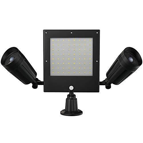 Luz Solar, Luz De Pared LED De Inducción Del Cuerpo Humano, Luz De Proyección De Doble Cabeza, Luz De Jardín Giratoria De 360 ° Resistente Al Agua Y Al Aire Libre