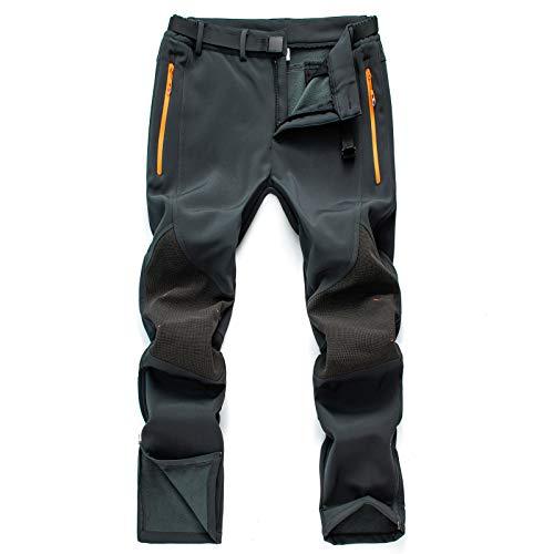 CAMOFOXIN Men's Fleece Ski Pants with Belt, Waterproof Snow Hiking Pants for Snowboarding (Grey, 32W X32L)