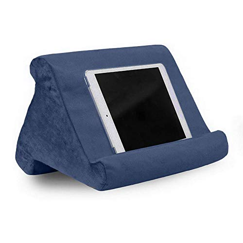 Tablet Pillow Stand, Soft Bed Pillow Holder, Fits up to 11' Pad, Fit with iPad 10.2' 2019, New iPad Air 3 2, iPad Pro 11 2020/10.5/9.7, Mini 5 4 3, for eReaders, Magazines, Kindle (blue)