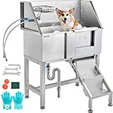 VEVOR Pet Grooming Tub, Stainless Steel Dog Wash Station Pet Washing Station 34' Dog Washing Station Water-Resistant Grooming Tub for Dogs with Removable Door & Ladder on The Right