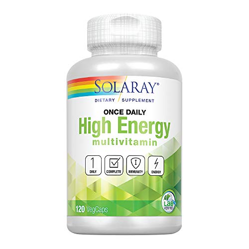 Solaray Once Daily High Energy Multivitamin | Supports Immunity & Energy | Whole Food Base Ingredients | Mens and Womens Multi Vitamin | 120 VegCaps