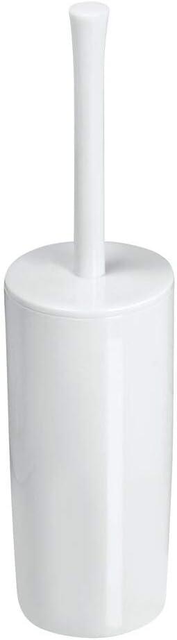 porte brosse WC classique pour salle de bain ou WC pour invit/és mDesign brosse WC en plastique blanc brosse toilette avec support /à brosse pratique lot de 2