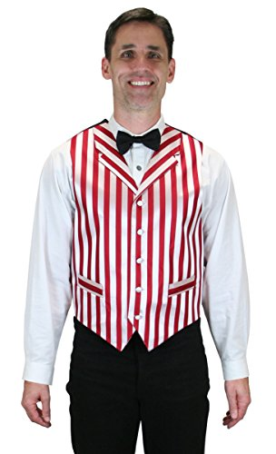 Historical Emporium Men's Ragtime Satin Striped Dress Vest L Red/White