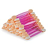 DRtrue Disposable Dual Sided Eyeshadow Brush Sponge Tipped Oval Eye Shadow Makeup Applicator, 100 Pieces (Pink)