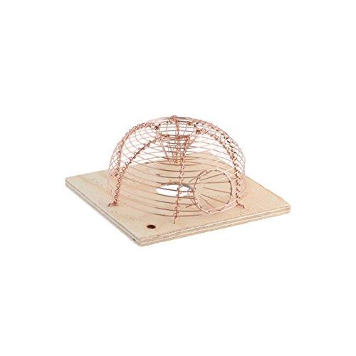 Preisvergleich Produktbild Xclou Korbmausfalle in Kupferfarben,  runde Nagerfalle,  Mausefalle mit 2 Eingänge für Mäuse,  Kleintierfalle mit einer Tür zur Befüllung des Käfigs,  Lebendfalle aus einem Drahtgeflecht
