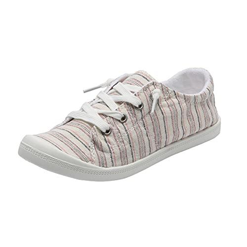 Kvinnor snörskor snörning skor tryck kanvasskor kanvas snörskor sneakers kvinnor sportig snörning fritidsskor, - 3 beige - 39 EU