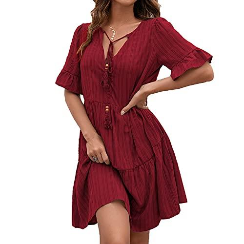 Vestido suelto de manga corta de las mujeres con una línea de versión simple estilo color sólido con cuello en V ropa de verano