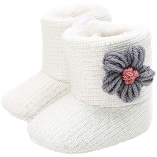 Tcesud Newborn Baby Girls Cotton Soft Sole Winter Warm Snow Boots Infant Toddler Mid Calf Snow Boots for Baby Girls 0-18 Months(6-12 Months,White Grey)