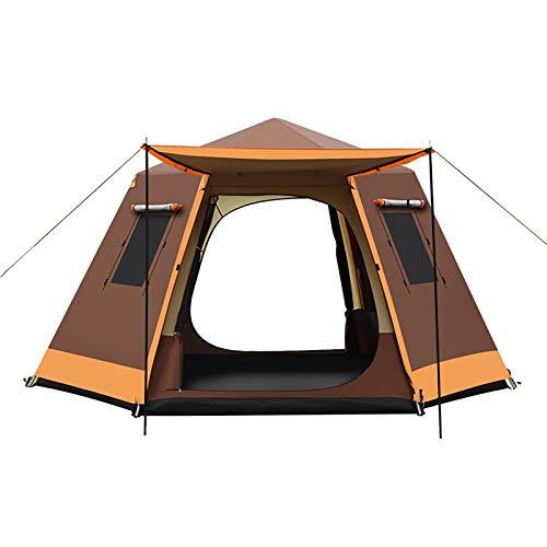 ZXD Tienda de Campaña Familiar para 3-7 Personas, Tienda de Camping Impermeable Anti Viento, para Camping o Festivales, Acampada, Familiar,Marrón,Small