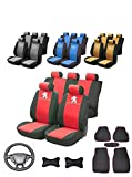 SPACE Peugeot 208 - Set di coprisedili per Auto con Logo, con Rivestimenti per sedili Anteriori e Posteriori, Rivestimento per Volante in Pelle, 37-38 cm, per Auto