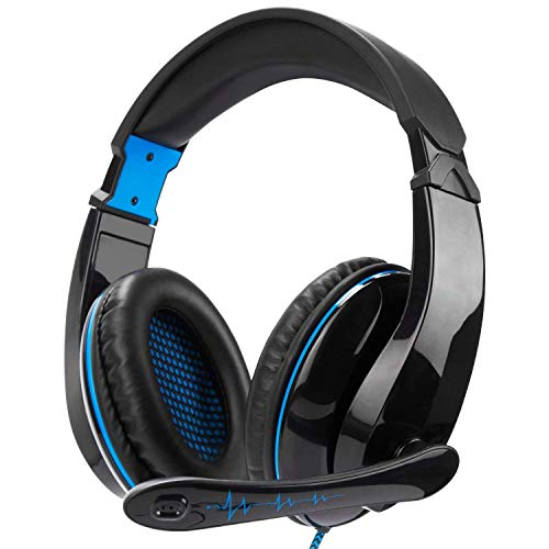 Xbox One Gaming Headset Stereo Over Ear Gaming Headset with Mic Noise Cancelling Volume Control for Xbox One/PC/Mac/PS4/Nintendo/Phone (Black&Blue)