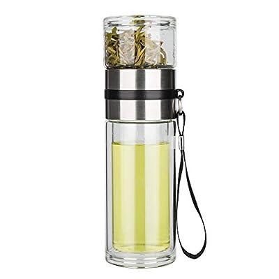 Glass Tea Infuser Bottle Tea Tumbler Double Wall Glass Borosilicate Travel Mug Leakproof For Loose Leaf Tea,Flower Tea ,Herbal,and Tea Bags 13 OZ/380ML