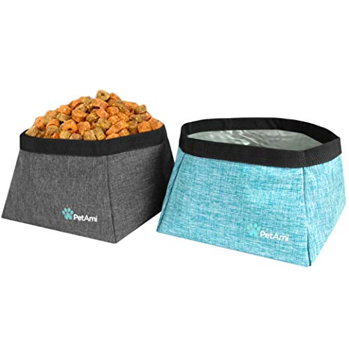 PetAmi Collapsible Dog Travel Bowls, Large Lightweight Foldable Bowl, Water Food Bowls for Pets Dogs for Hiking, Camping, Backpacking, Kibble, 2 Pack (Sea Blue, Grey)