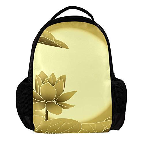 TIZORAX Orientalischer Rucksack für den Mittelherbst, Lotusblume, Schulrucksack, Schulrucksack, College, Büchertasche, Reisetasche, Laptop-Tasche, Tagesrucksack, für Herren und Damen
