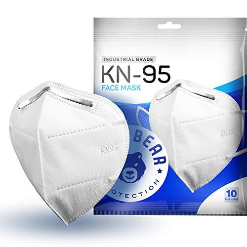 Blue Bear Protection Disposable KN95 Face Masks, White (Pack of 10), Adult Disposable Face Mask, KN95 Masks Disposable, 4 PLY Mask KN95, Disposable Masks, Face Masks Disposable,