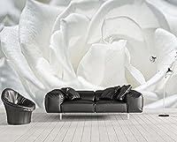 壁紙 3D 白いバラの花びら 不織布壁紙テレビ背景壁