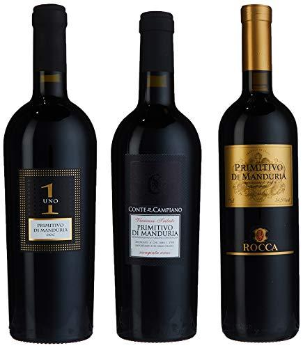 Probierpaket Weingenuss Primitivo di Manduria DOC | Weinpaket mit italienischem Rotwein (3 x 0,75 l ) | Perfektes Primitivo Tastingset