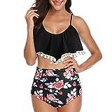 Livoral T-Shirt pour Femme d'été léger et Confortable, Haut décontracté et élégantFemmes rembourré Volants Sexy Glands Lacets Taille Haute Costume de Plage Maillot de Bain Bikini (Noir,XXX-Large)