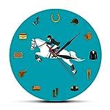Equipos Deportivos ecuestres, Moderno acrílico, Reloj Colgante de Pared, Accesorios para Montar a Caballo, Reloj de Pared, Ecuestre, Regalo para Amantes de los Caballos