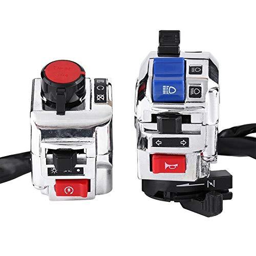 zis Nuevo 22 mm 7/8 pulgadas 12V Fit para el control del control del interruptor del manillar de la motocicleta Botón indicador de la bocina (Color : Black and silver)